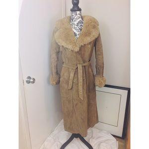 Vintage Long 70s Suede Shearling Jacket